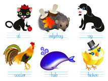 Educational games for children English. Look name, write the letters. Stock Photo