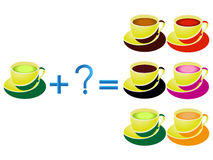 Educational games for children, mathematical addition, example with cups of tea. Stock Images