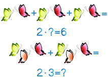 Educational games for children, multiplication action, example with  butterflies. Royalty Free Stock Photo