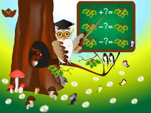 Educational games for children with owl teacher. Royalty Free Stock Photography
