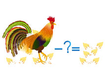 Educational games for children, subtract, example with chickens. Stock Photography
