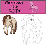 Educational games for kids: Connect the dots. Cute horse. Educational games for kids: Connect the dots. Cute horse smiles Royalty Free Stock Photo