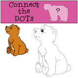 Educational games for kids: Connect the dots. Little cute baby bear smiles Royalty Free Stock Image
