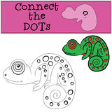 Educational games for kids: Connect the dots. Little cute green Stock Image