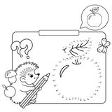 Educational games for kids: numbers game. Apple. Coloring Page Royalty Free Stock Photo