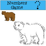 Educational games for kids: Numbers game with contour. Cute bear Royalty Free Stock Image