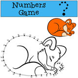 Educational games for kids: Numbers game with contour. Little cute baby fox. Stock Photo