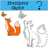 Educational games for kids: Numbers game. Cute fox looks at the butterfly royalty free illustration