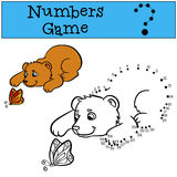 Educational games for kids: Numbers game. Little cute baby bear. Royalty Free Stock Photo