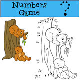 Educational games for kids: Numbers game. Little cute baby bears Royalty Free Stock Photos