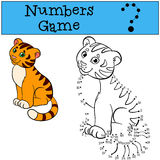 Educational games for kids: Numbers game. Little cute baby tiger smiles. Educational games for kids: Numbers game. Little cute baby tiger Stock Photography