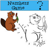 Educational games for kids: Numbers game. Little cute beaver. Royalty Free Stock Photo