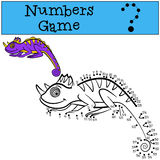 Educational games for kids: Numbers game. Little cute chameleon. Stock Images
