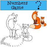 Educational games for kids: Numbers game. Mother fox with her little cute baby. Royalty Free Stock Images
