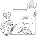 Educational games for kids: numbers game. Mushrooms. Coloring book for children Royalty Free Stock Images