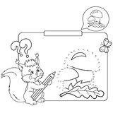 Educational games for kids: numbers game. Mushrooms. Coloring Page Outline Of squirrel with pencil Stock Photography