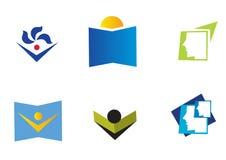 Educational icons. Set of six educational icon showing people reading books, isolated on white background Stock Photo