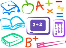 Educational Icons. Colourful set of educational icons Royalty Free Stock Images