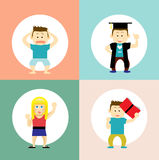 Educational icons; different students characters Royalty Free Stock Images