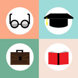 Educational icons; glasses, briefcase, graduation cap and book Stock Photo