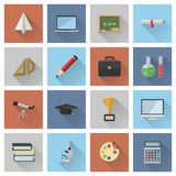 Educational icons. Set of 16 flat design educational icons. File is in eps10 format Royalty Free Stock Photography