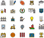 Educational icons. Set of 25 icons illustrating various subjects relating to college and education, including university, rugby, owl, cap, gown, graduation Royalty Free Stock Images