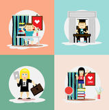 Educational icons; students in different situations Royalty Free Stock Photos