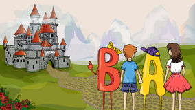 Educational illustration. Children and ABC. Children with letters go to the castle to get knowledge. Educational illustration. Children and ABC. Children with royalty free illustration