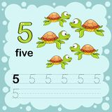 Educational illustration to learn how to count and write a number five. Worksheet for kindergarten and preschool. Turtle vector illustration