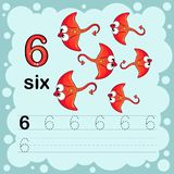 Educational illustration to learn how to count and write a number six.  Worksheet for kindergarten and preschool. Ray fish Stock Images