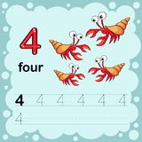 Educational illustration to learn how to count and write a number four. Worksheet for kindergarten and preschool. Shrimp vector illustration