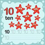 Educational illustration to learn how to count and write a number ten.  Worksheet for kindergarten and preschool. Starfish Stock Photos