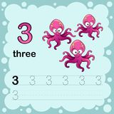 Educational illustration to learn how to count and write a number three.  Worksheet for kindergarten and preschool. Octopus Royalty Free Stock Images