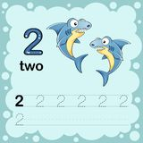 Educational illustration to learn how to count and write a number two.  Worksheet for kindergarten and preschool. Shark Royalty Free Stock Images