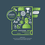 Educational infographics in flat styl. Educational infographics. Vector modern illustration with a book, magnifying glass, globe, medal, and various objects in Stock Photography