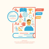 Educational infographics in flat style. Educational infographics. Vector modern illustration with a book, magnifying glass, globe, medal, and various objects in Royalty Free Stock Photos