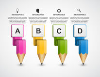 Educational Infographics template with colored pencil. Royalty Free Stock Photography