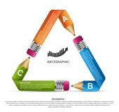 Educational Infographics template. Pencil with colored ribbons. Infographics for business presentations or information banner. Vector illustration Royalty Free Stock Photos
