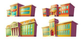 Educational institutions buildings cartoon vectors Royalty Free Stock Photos