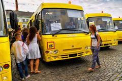 Educational institutions in four districts of Transcarpathian region received new school buses Royalty Free Stock Photo