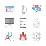 Educational items flat icons set Stock Image