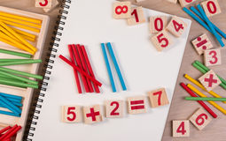 Educational kids math toy wooden board stick game counting set in kids math class kindergarten. Royalty Free Stock Image
