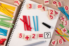 Educational kids math toy wooden board stick game counting set in kids math class kindergarten. Math toy kids concept Royalty Free Stock Photography