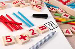 Educational kids math toy wooden board stick game counting set in kids math class kindergarten. Math toy kids concept stock photo