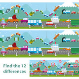 Educational kids puzzle with transport. Two versions of a vector illustration of cars and traffic in a traffic jam on a road and lining the hilltops in an Royalty Free Stock Photos