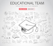 Educational and Learning concept with Doodle design style. Teaching solution, studies, creative ideas. Modern style illustration for web banners, brochure and Royalty Free Stock Images