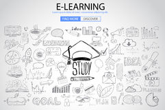 Educational and Learning concept with Doodle design style Royalty Free Stock Photo