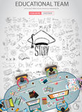 Educational and Learning concept with Doodle design style. Teaching solution, studies, creative ideas. Modern style illustration for web banners, brochure and Stock Image