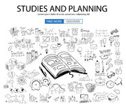 Educational and Learning concept with Doodle design style :teaching solution. Studies, creative ideas. Modern style illustration for web banners, brochure and Stock Photo