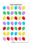 Educational logic game with balloons - sequential pattern recognition. Educational logic game training sequential pattern recognition skills with colorful vector illustration
